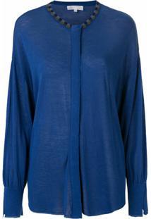 Nk Blusa De Tricô Com Bordado - Azul