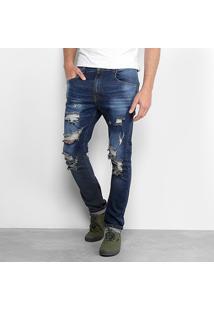 Calça Jeans Slim Handbook Estonada Destroyed Masculina - Masculino-Azul Escuro