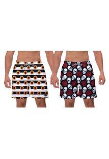 Kit 2 Shorts Moda Praia Girassol Caveiras Estampado Masculino Ajustável Poliéster Elastano Esporte Academia Banho W2
