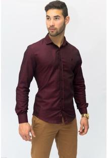 Camisa Social Masculina Slim Vinho 3001 - Masculino