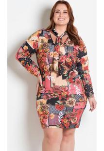 Vestido Gola Laço Plus Size Floral Marguerite