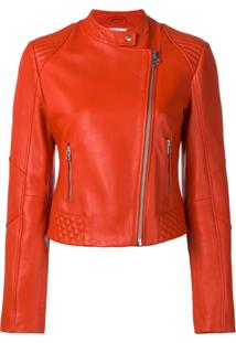 Pinko Fitted Leather Jacket - Vermelho