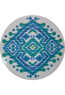 Sousplat Redondo De Madeira Tie Dye Azul