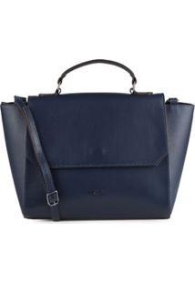 Bolsa Shoulder Bag Couro Clássica Marinho - Marinho/Un