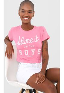 Camiseta Cropped Aeropostale Blame It Rosa - Kanui