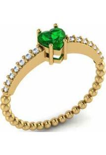 Anel La Madame Co Ouro 18K Coração Tsavorita Com Brilhantes Dourado