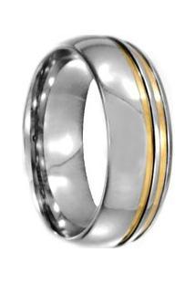 Aliança De Aço C/ Filete De Ouro -12 - Unissex-Cinza