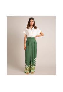 Calça Pantalona De Viscose Tropical Cintura Alta Com Cinto Verde
