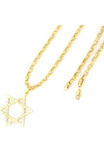 Pingente Tudo Joias Estrela De Davi Com Corrente Cartier Folheado A Ouro 18K - Unissex-Dourado
