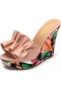 Tamanco Anabela Salto Alto Franzido Em Napa Rosa Bb Com Floral Salmão