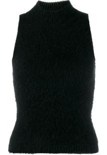 Versace Blusa Cropped De Tricô - Preto