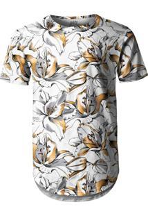 Camiseta Longline Over Fame Flor Branca