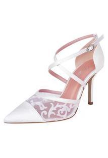 Sapato Scarpin Branco Noiva Casamento Salto Alto