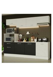 Cozinha Completa Madesa Onix 240003 Com Armário E Balcáo - Branco/Preto 0973 Branco