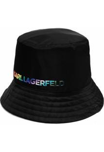Karl Lagerfeld Chapéu Bucket Pride Com Logo Bordado - Preto