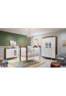 Dormitório Ariel Guarda Roupa 4 Portas Comoda Fraldã¡Rio Berço Lila Amadeirado Rustico Carolina Baby Branco