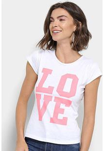 Camiseta Flora Zuu Love Feminina - Feminino-Branco