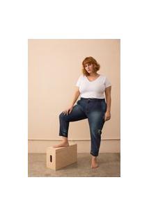 Calça Jeans Baggy Destroyed Plus Size Azul-48