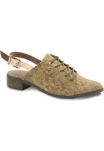 Sapato Chanel Feminino Cravo E Canela Com Fivela - Feminino-Dourado