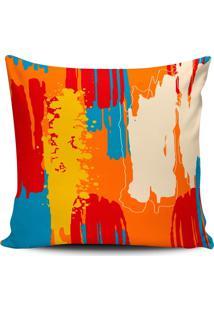 Capa Almofada Pintura Abstrata Laranja 45X45Cm - Multicolorido - Dafiti