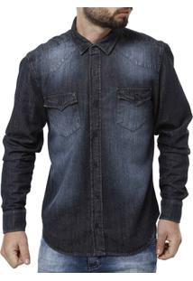 Camisa Jeans Manga Longa Masculina Bivik - Masculino-Azul