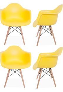 Kit 04 Cadeiras Decorativas Lyam Decor Melbourne Amarelo