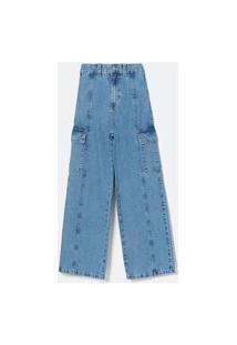 Calça Wide Leg Jeans Com Recortes E Bolsos Laterais