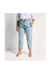 Calça Clochard Jeans Com Pala Enviesada E Bolsos Curve & Plus Size   Ashua Curve E Plus Size   Azul   54