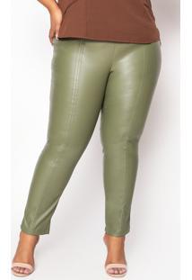 Calça Almaria Plus Size Enois Couro Verde