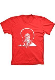 Camiseta Baby Look Lu Geek Mumia Pulando Vermelho