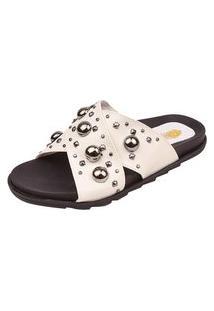 Birken Uzze Sapatos Aplicações Metálicas Branca