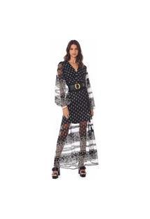 Vestido Morena Rosa Longo Decote V Com Transparência Bege
