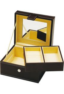 Porta-Joias Com Divisórias- Preto & Amarelo- 10X19X1Btc Decor