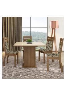 Sala De Jantar Madesa Mesa Tampo De Vidro Com 4 Cadeiras Marrom