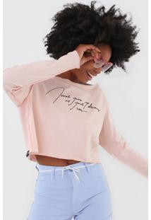 Camiseta Cropped Coca-Cola Jeans Never Give Up Rosa - Kanui