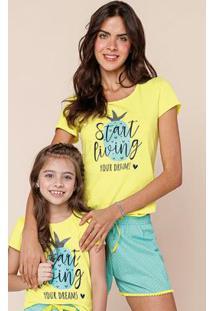 Pijama Amarelo Curto Feminino