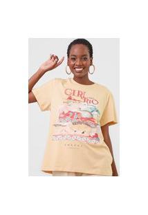 Camiseta Colcci Girl From Rio De Janeiro Bege