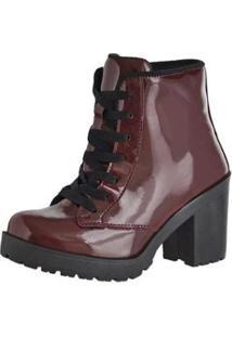 d134ecdc4 ... Bota Coturno Cr Shoes Verniz Feminina - Feminino-Vinho
