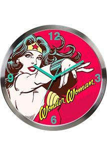 Relógio De Parede Dc Comics Wonder Woman Power Vermelho Em Metal - Urban - 30X4,2 Cm
