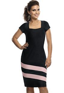 Vestido Tubinho Bicolor