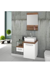 Gabinete Para Banheiro Com Cuba Quadrada Q32 E Espelheira Legno 631W Compace Branco/Nogal