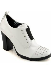 Ankle Boot Tachas Tratorado Cravo E Canela - Feminino-Branco