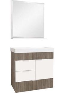 Gabinete Para Banheiro Club 60Cm Com Lavatório E Espelheira Grigio Bumi
