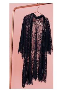 Robe Em Laise Kimono Com Cetim