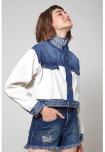 Jaqueta Jeans Oh, Boy! Mix Tecidos Feminina - Feminino-Azul
