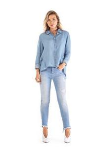 fb8816726 Camisa Jeans Rosa feminina   Gostei e agora?