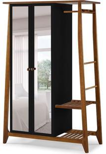 Guarda-Roupa Solteiro Stoka Com Espelho 2 Pt Nogal E Preto