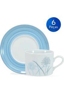 Conjunto 6 Xícaras De Chá Com Pires Karina - Schmidt - Branco / Azul