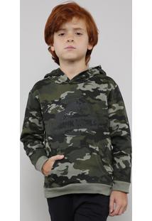 Blusão Infantil Jurassic World Em Moletom Estampado Camuflado Com Capuz Verde Militar