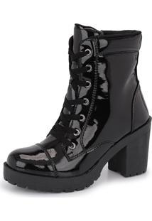 Bota Tratorada Cr Shoes Cano Médio Salto Verniz 1701 Preto